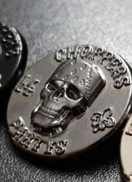 CnP Choppers n Partys Skull Pin